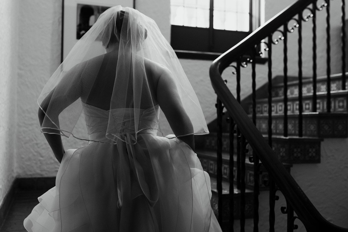bride going upstairs