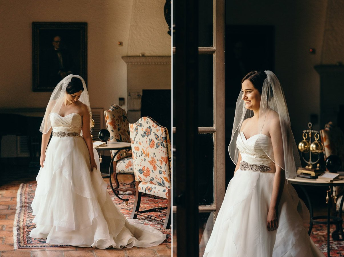 bride in her dress at rice university