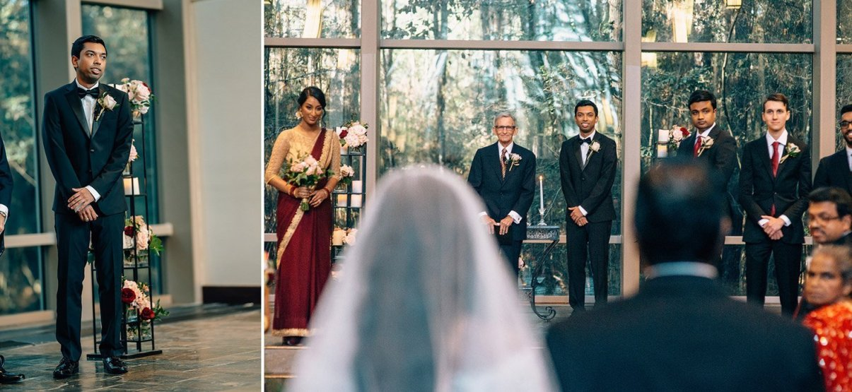groom seeing bride at chapel in the woods