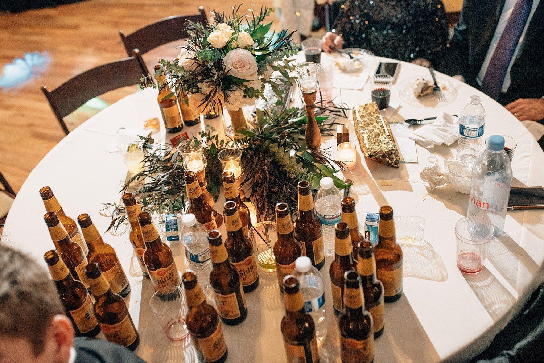 shiner bock on table at wedding