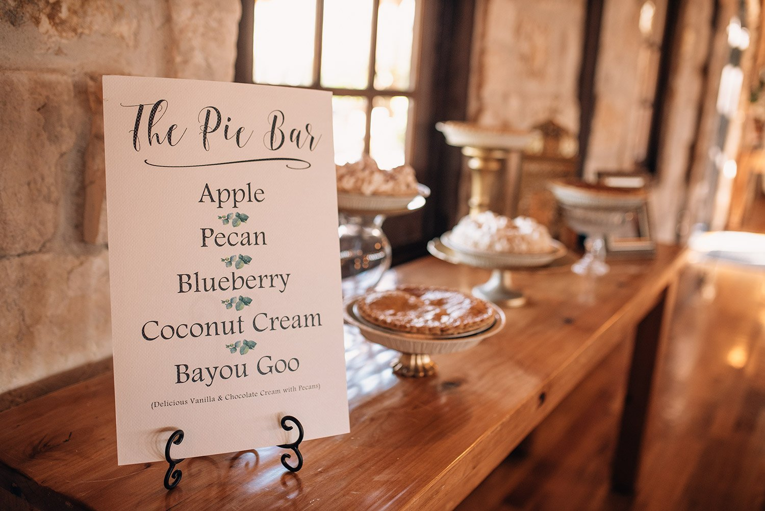 pie bar instead of a cake table