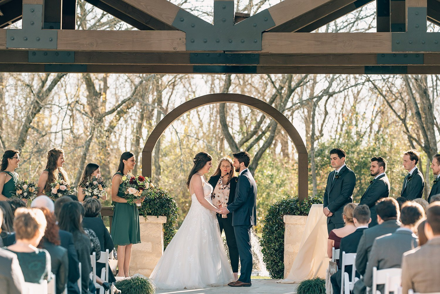 couple recites vows during their wedding at the springs event center