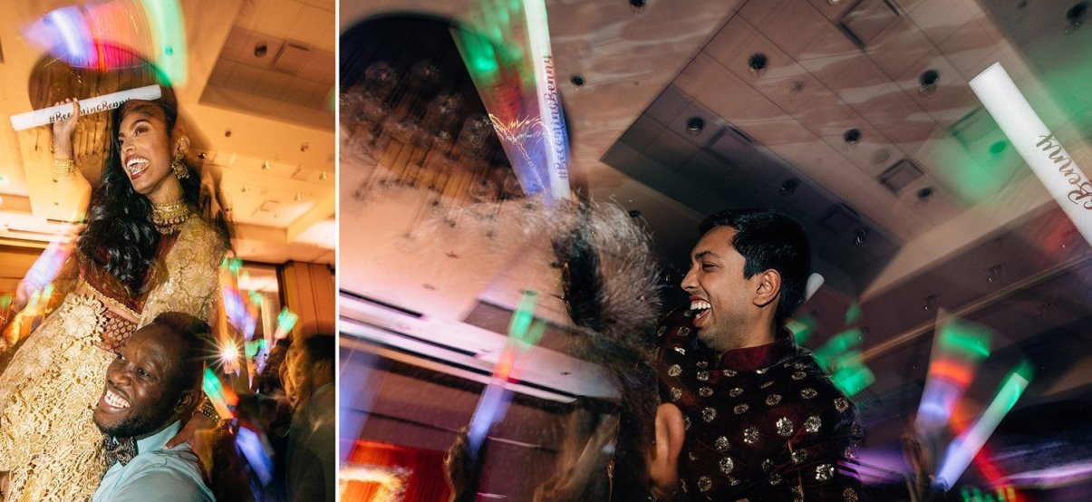 wild party at Indian wedding reception