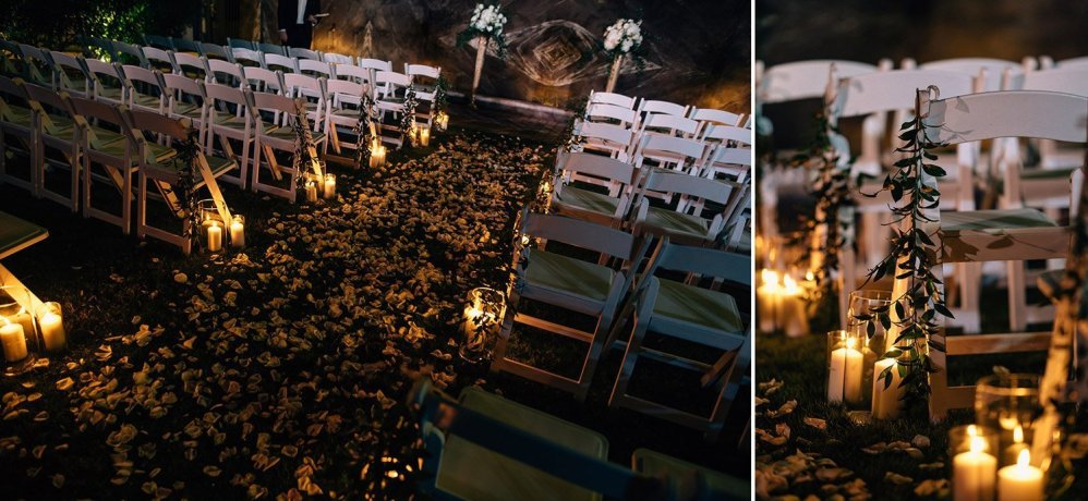 night time ceremony at hotel galvez