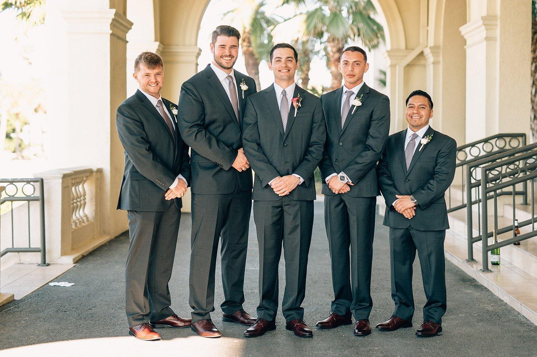 groomsmen portraits at Hotel Galvez
