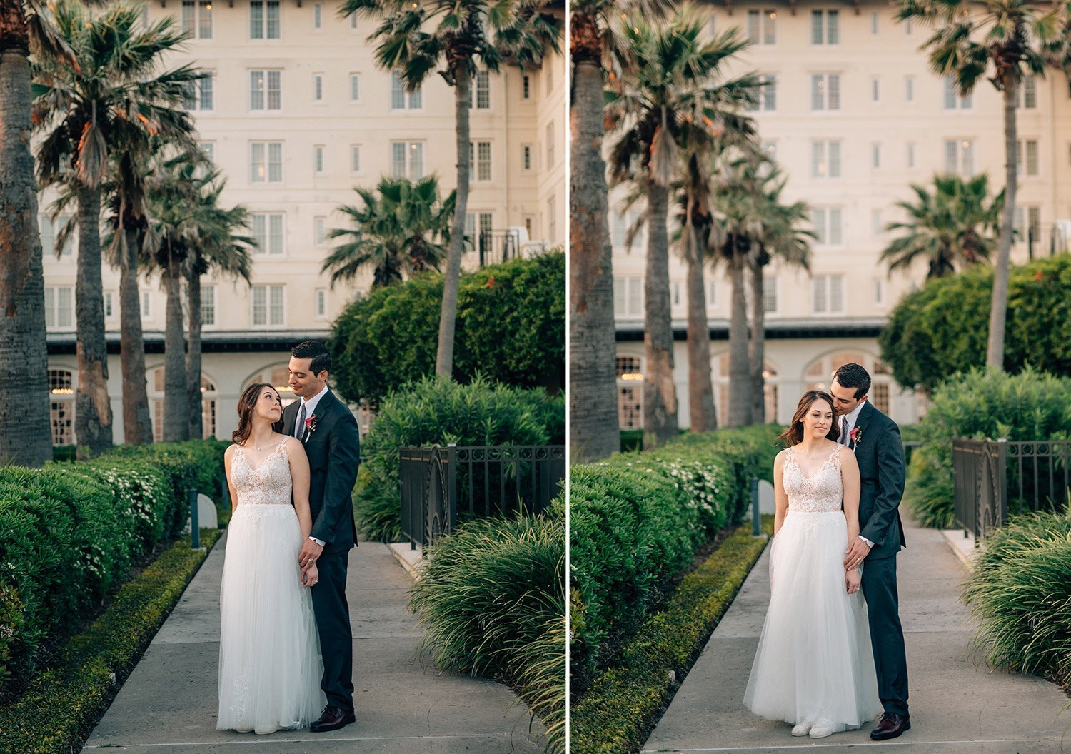 bride and groom portraits outside hotel galvez