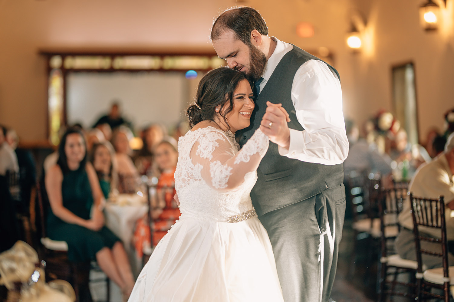 bride and groom first dance during wedding at cotton gin no. 116