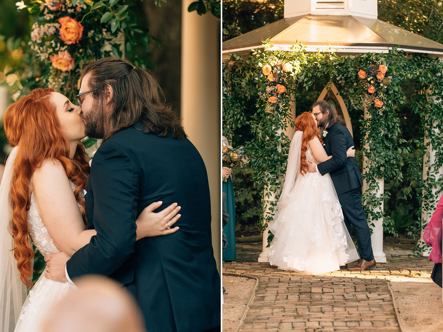 first kiss during butler's courtyard wedding