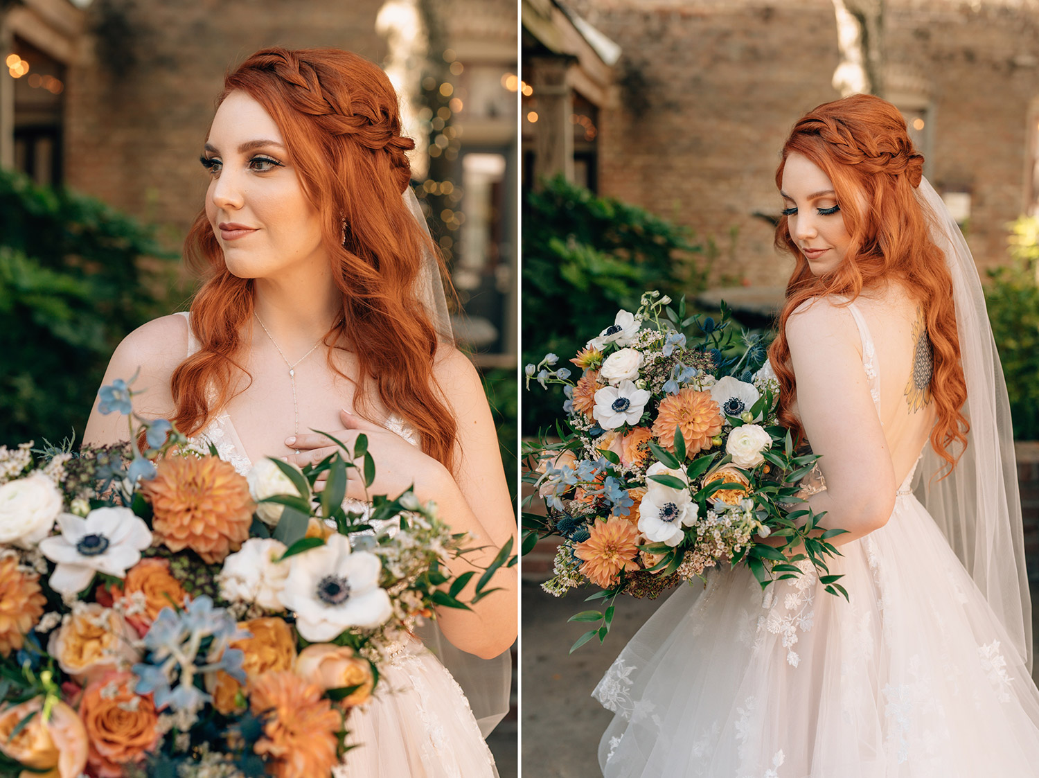 bride with her bouquet of fall colors