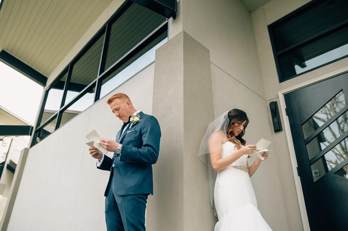 bride and groom exchange letters before wedding ceremony