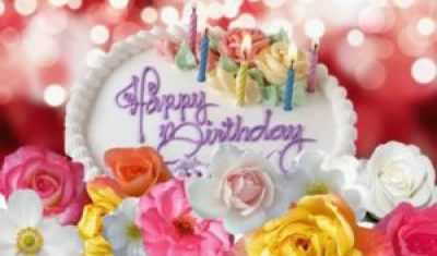 Happy Birthday Cake and Flowers Images