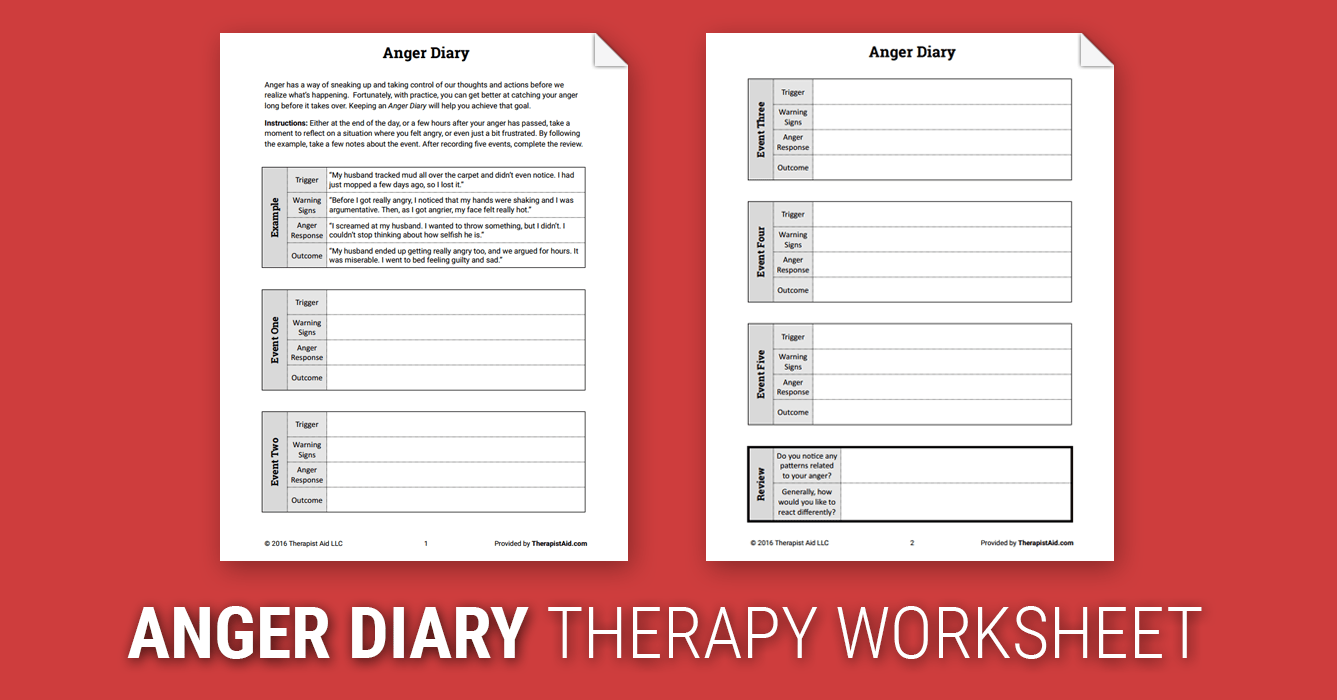 Anger Diary Worksheet