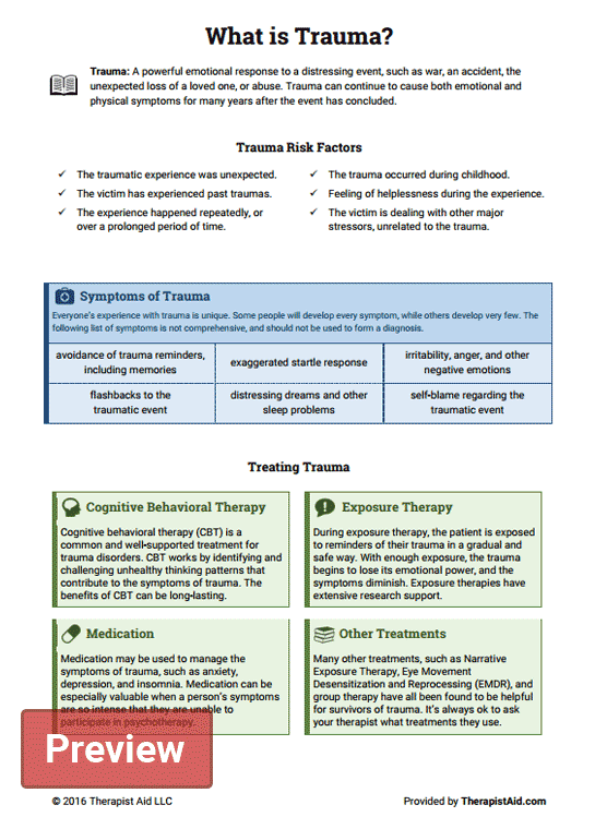 What Is Trauma Worksheet