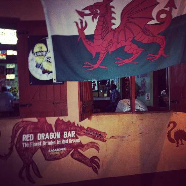 The Welsh flag hanging outside a bar in Negril, Jamaica