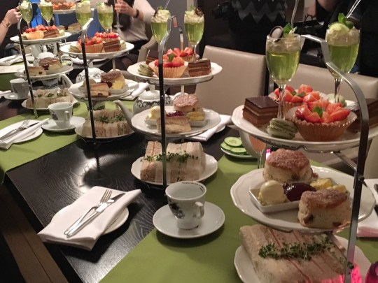 Afternoon tea - cakes, pastries, sandwiches and gin