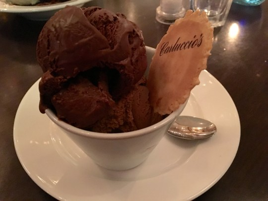 Coffee and chocoalte gelato icecream with wafer