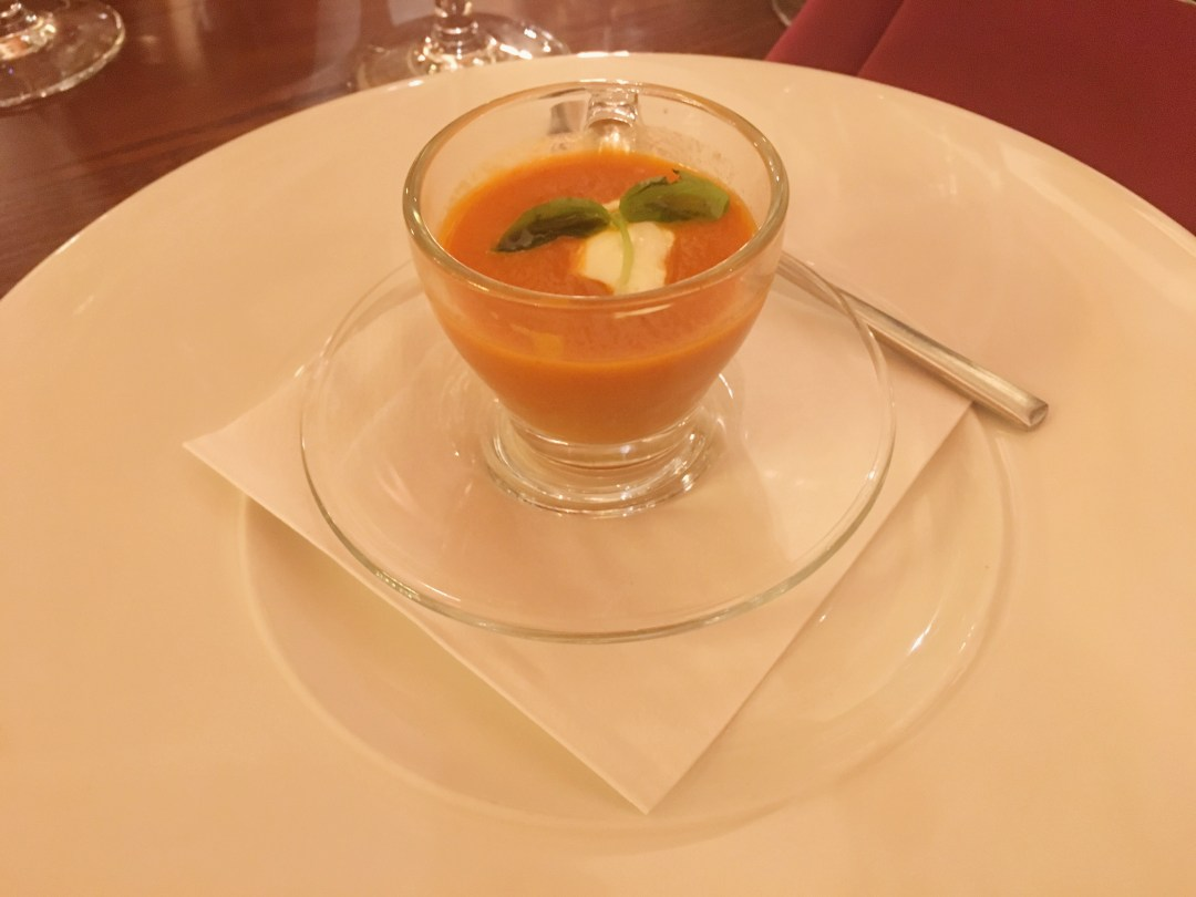 Tomato and basil soup at Chapel 1877, Cardiff
