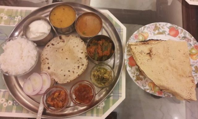 Home-cooked Indian veg thali