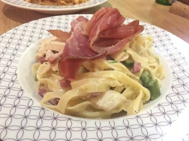 Asparagus and pancetta tagliatelle carbonara