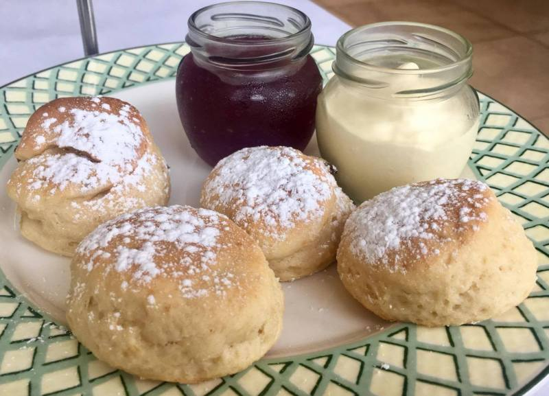 Afternoon tea scones with  jam and clotted cream