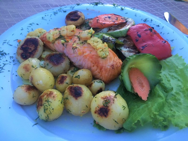 Salmon, potatoes and veg at Khan's Tent, Bulgara