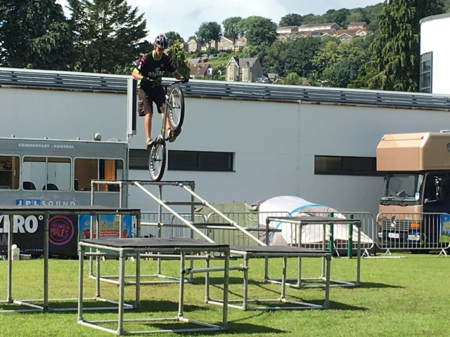 Mountain bike stunt display at Big Welsh Bite 2017 in Pontypridd, Rhondda