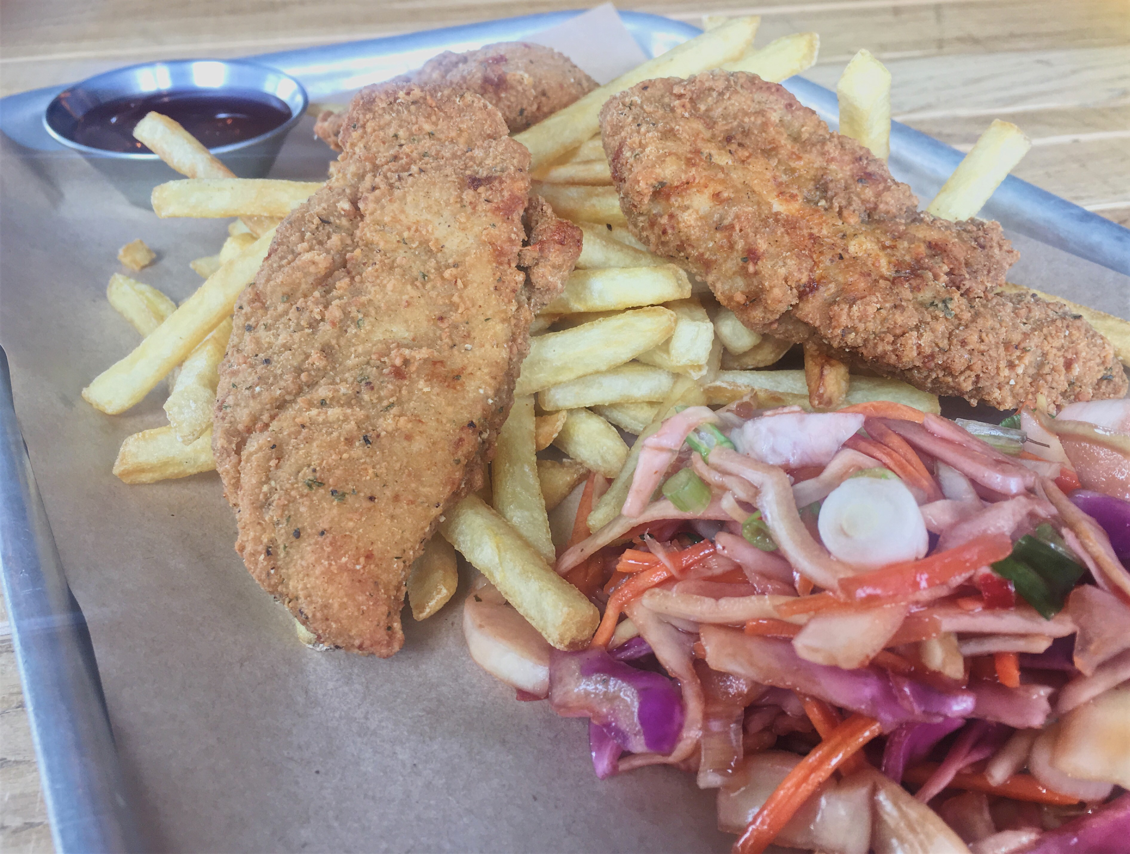 Southern fried chicken and chips at The Woodville, Cathays