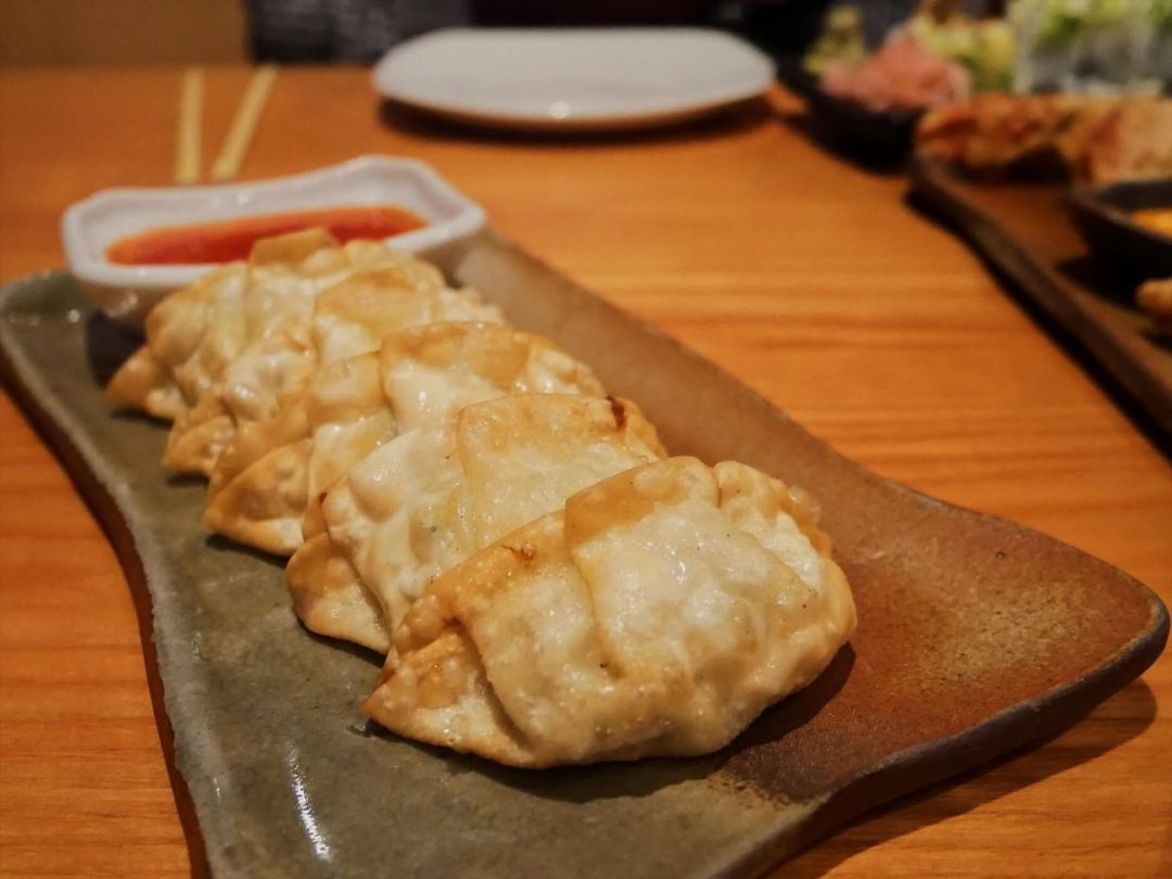 Chicken gyoza with sweet chilli sauce