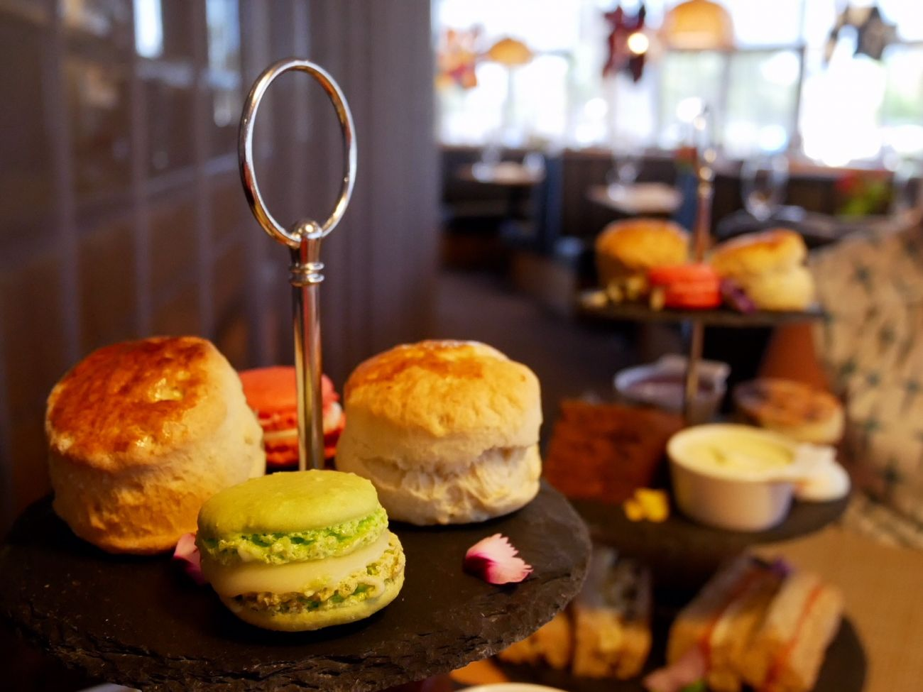 Scones and macarons in the afternoon tea in Cardiff Bay Future Inns Hotels