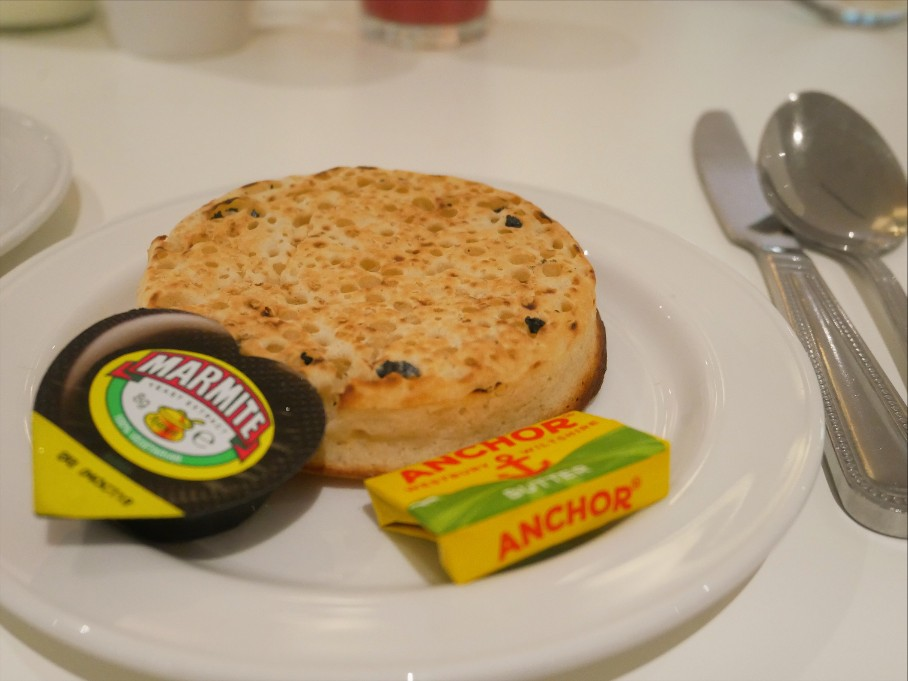 Marmite crumpet for breakfast at Grey Restaurant, Hilton Hotel Cardiff