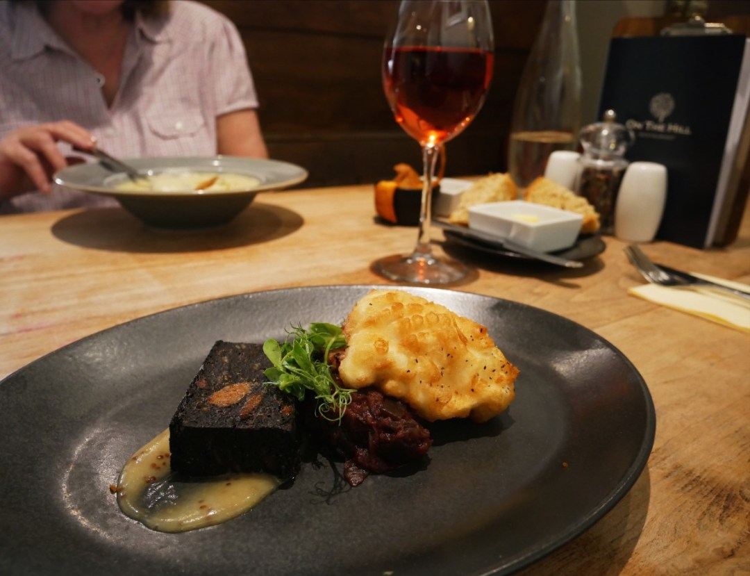 Homemade black pudding with crispy poached egg at On the Hill in Ruthin, Denbighshire