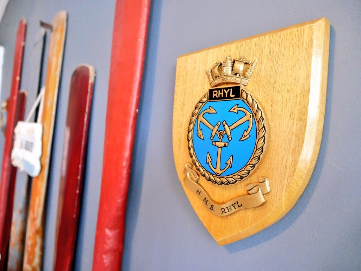 Original plaques from HMS Rhyl in The Pier Hotel in Rhyl, north east Wales