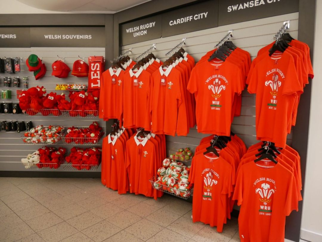 Welsh Rugby Union (WRU) branded merchanise on sale at Cardiff Airport