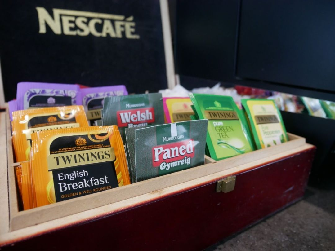 A selection of teas available in Cardiff Airport's Executive Lounge.