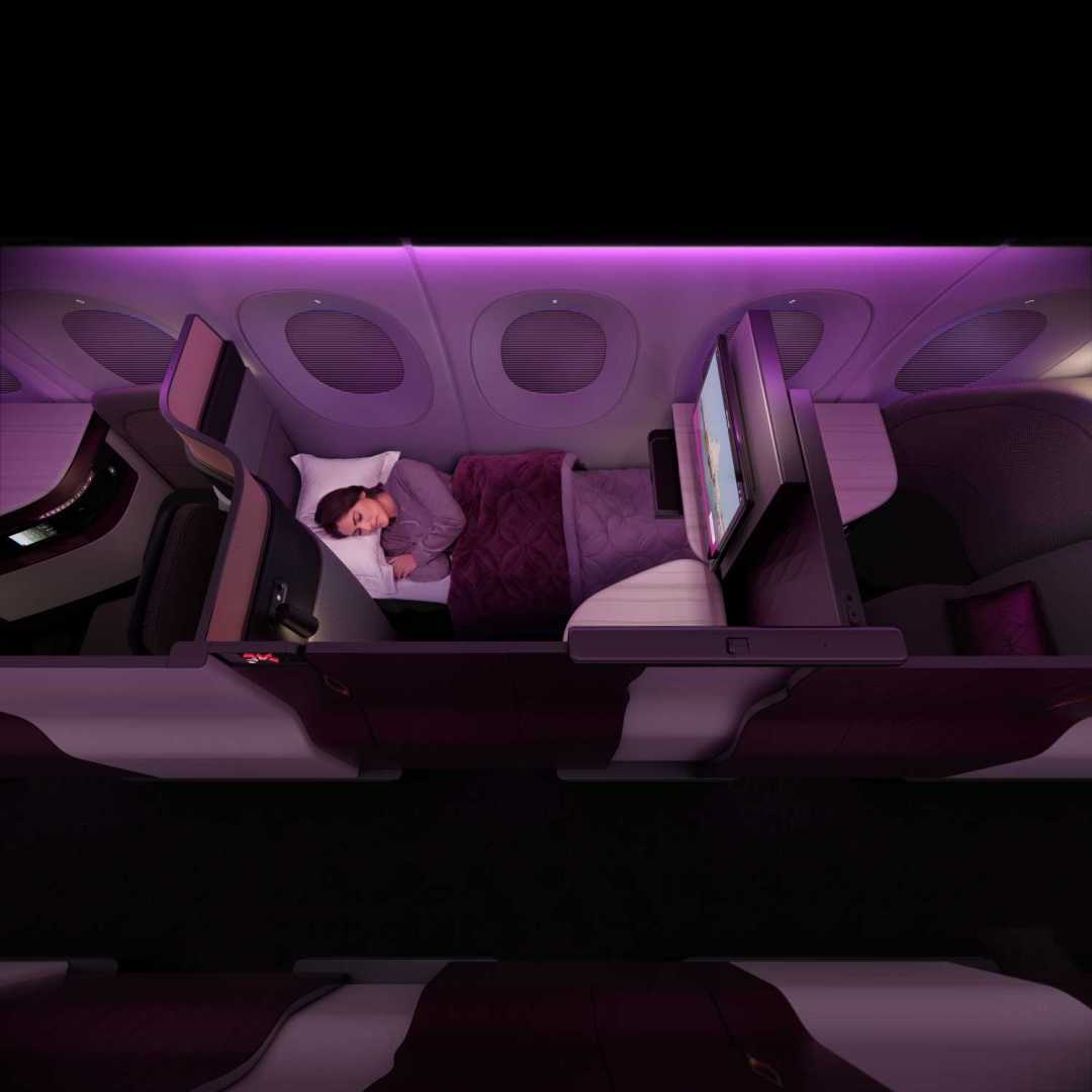 Sleeping in the QSuite onboard Qatar Airways Business Class