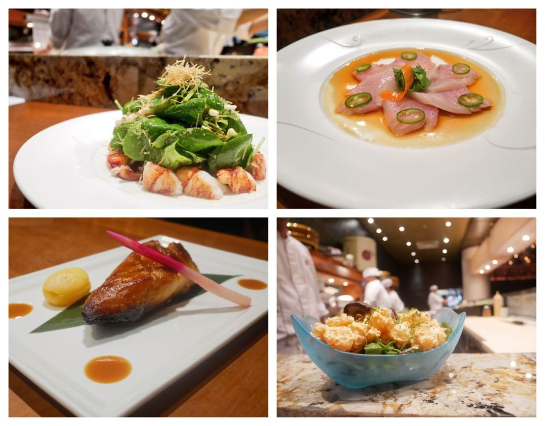 A collage of meals served as part of a set menu at Nobu Doha restaurant.