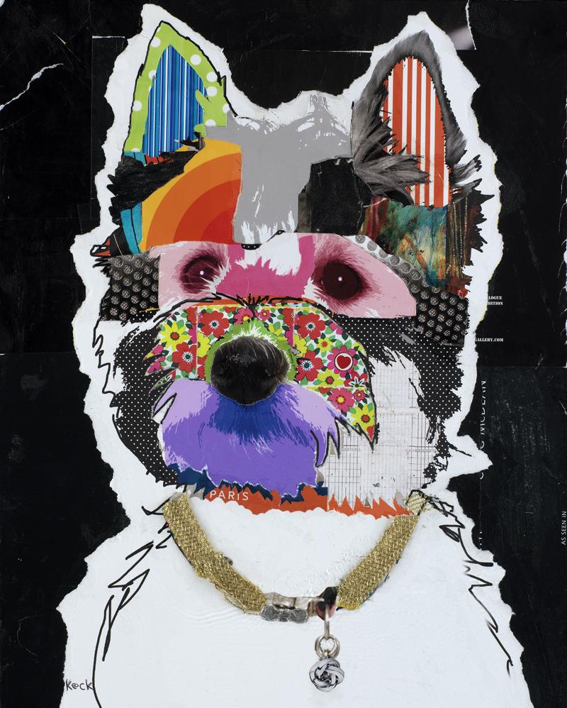 westie dog collage modern dog art of west highland white terrier