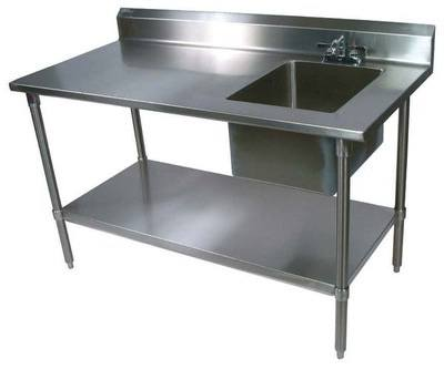john boos ept6r5 3072ssk r 30 x 72 16 gauge stainless steel work table with right sink
