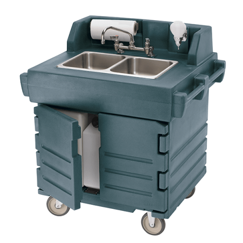 cambro ksc402519 green camkiosk portable self contained hand sink cart 110v