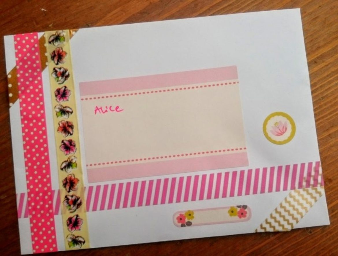 envelope art with washi