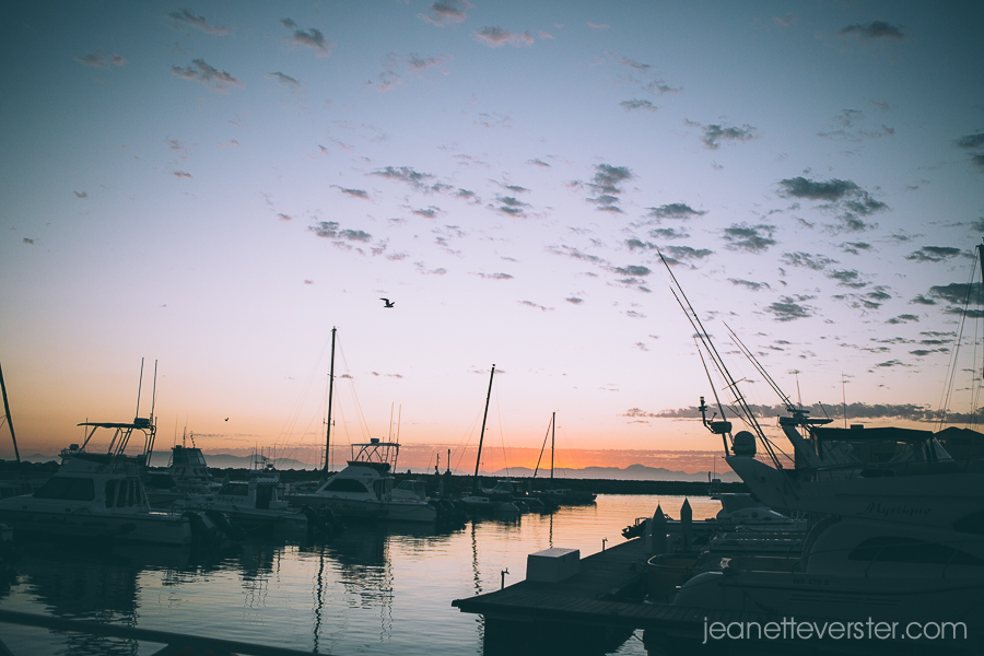 Dusky light at Gordons Bay harbour