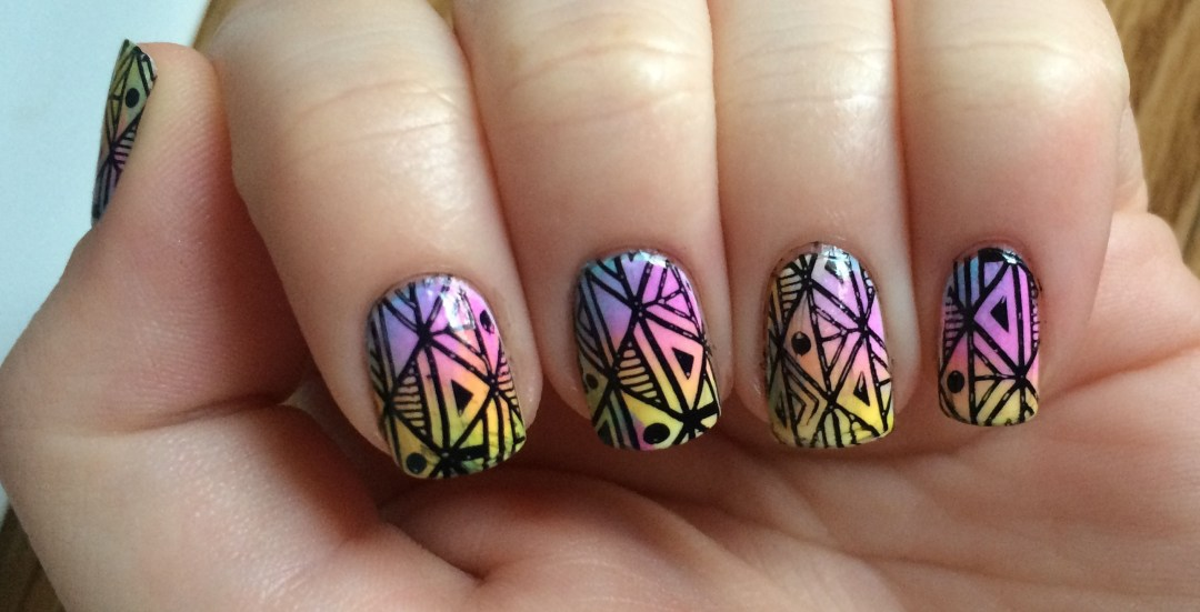 Pastel-Neon Marbled Aztex #NOTD Closeup | The Rebel Planner