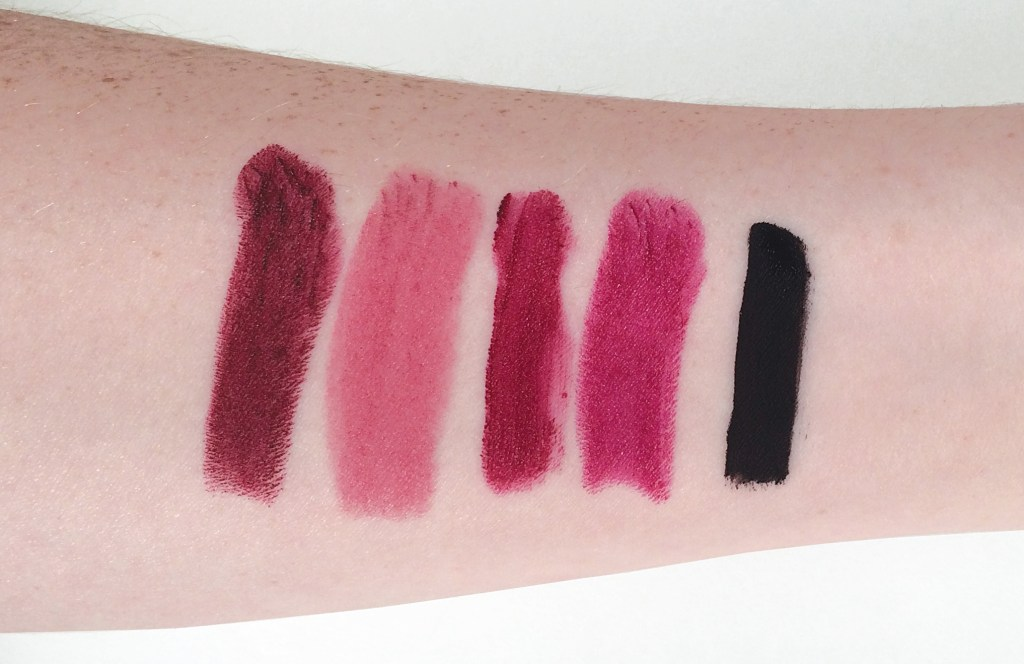 Left to right: MAC Diva, Maybelline Color Sensational Lipstick in Lust For Blush, NYX Soft Matte Lip Cream in Copenhagen, MAC Rebel, Limecrime Velvetine in Black Velvet.