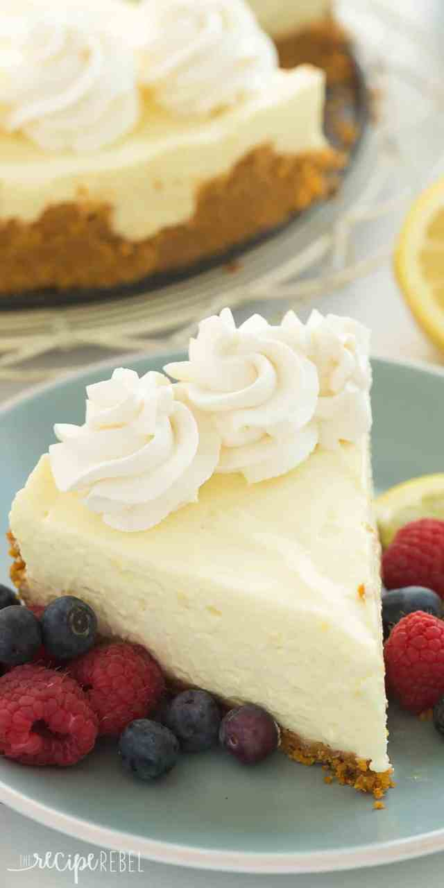 A Smooth Extra Creamy No Bake Lemon Cheesecake Made With Juice And Zest