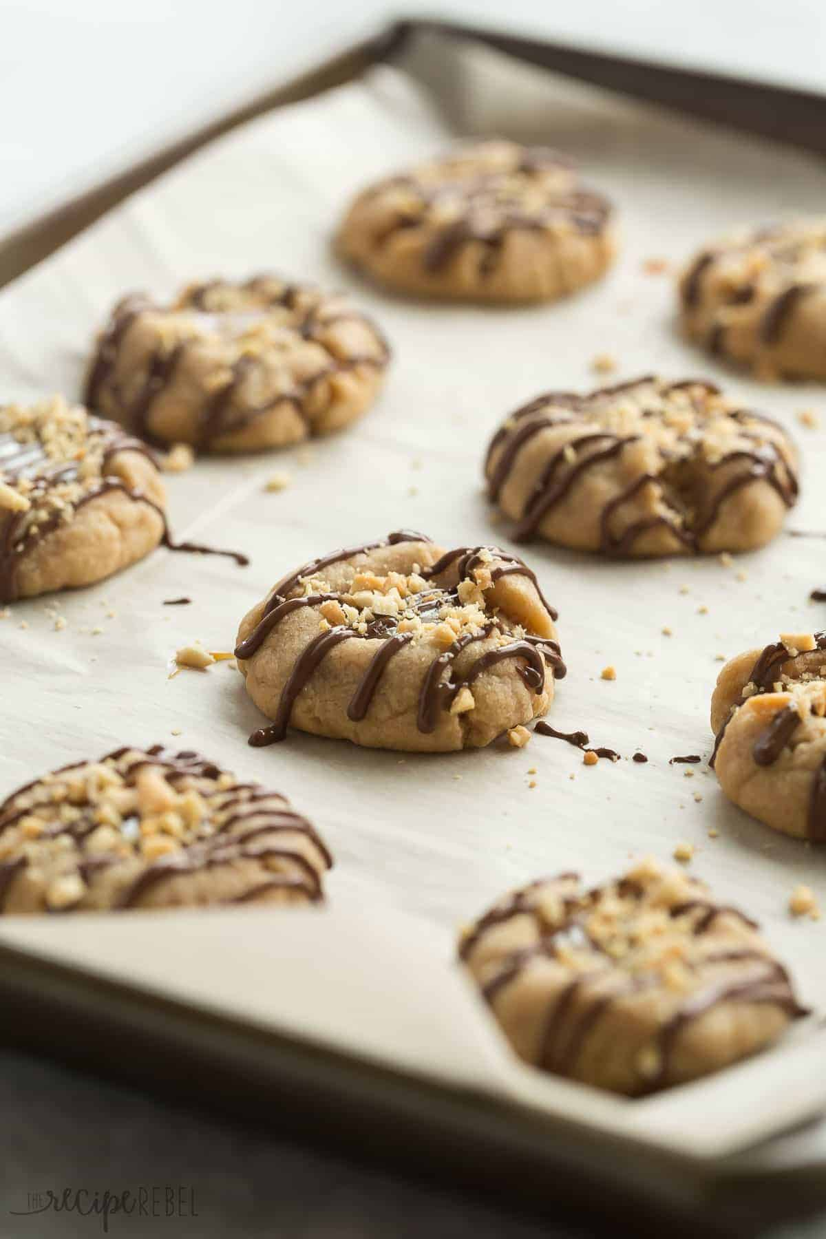 Peanut Butter Turtle Thumbprint Cookies Recipe