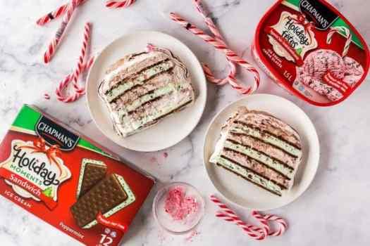 ice cream sandwich cake with chapman's holiday moments ice cream