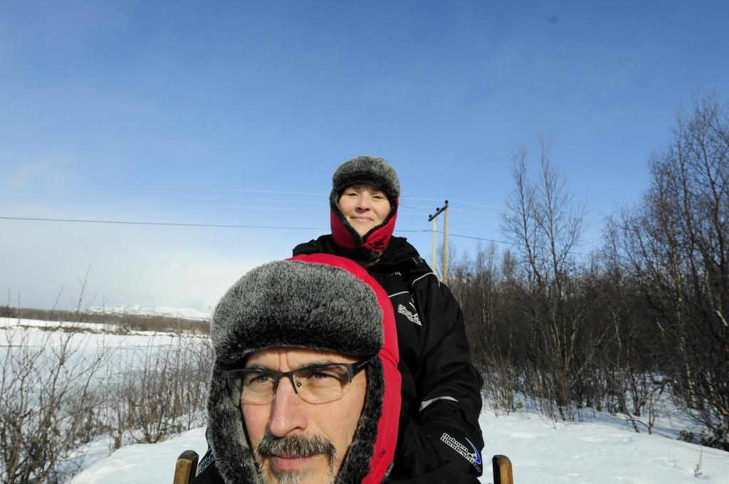 Bridget driving sled