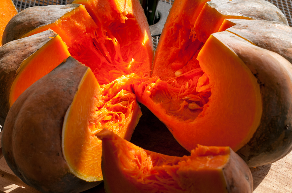 After cutting the pumpkin. It was so such a vibrant orange!