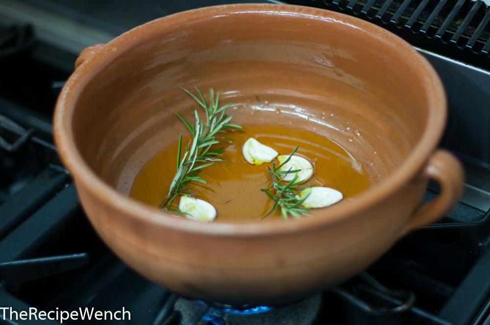Oil Rosemary Garlic to start ceci sauce