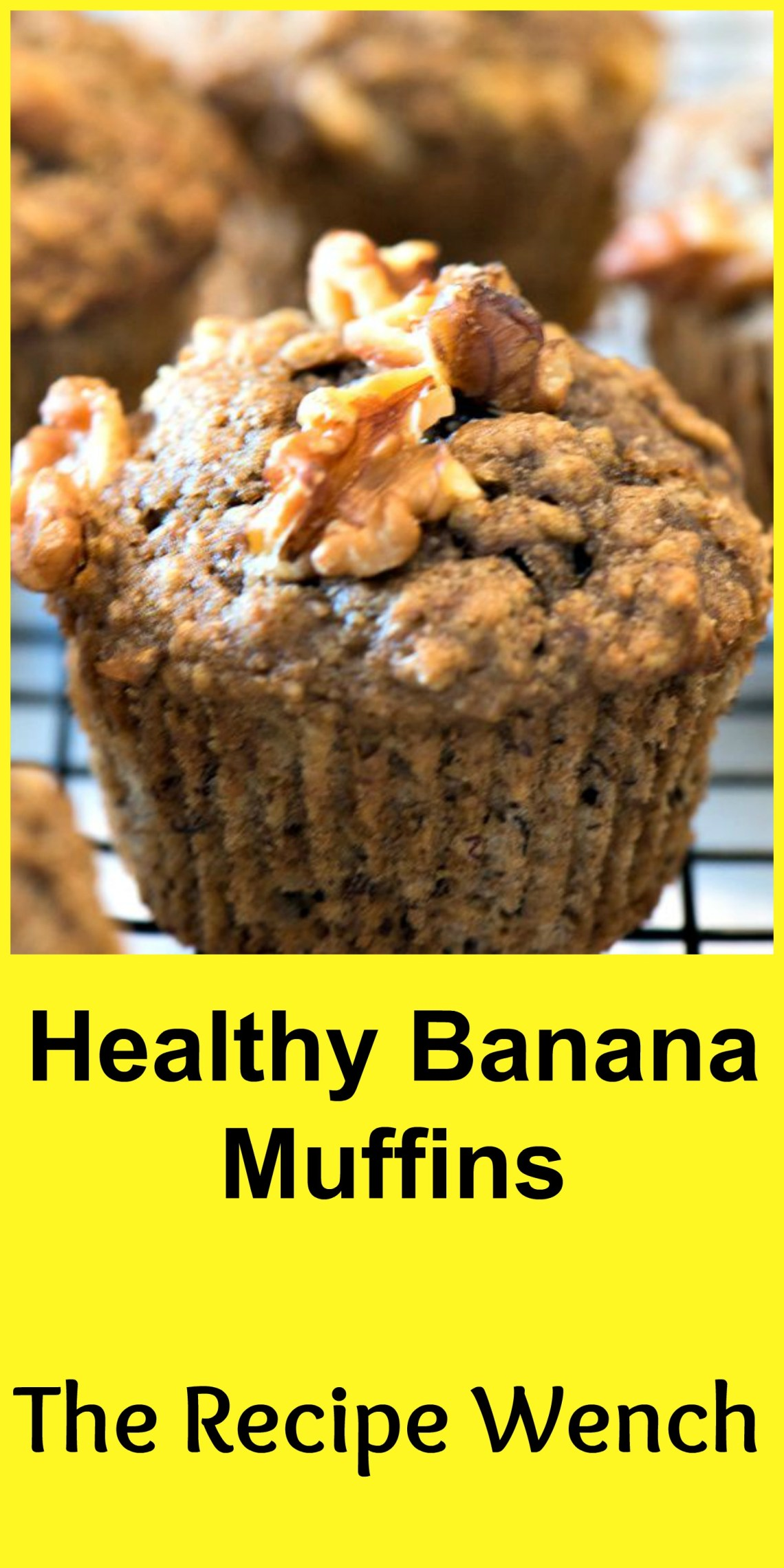 This easy recipe for healthy banana muffins uses whole wheat flour, dark brown sugar, sweet bananas and protein packed walnuts. Freeze an extra batch! | The Recipe Wench